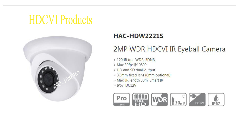 Free Shipping DAHUA CCTV Camera 2MP WDR HDCVI IR Eyeball Camera Without Logo HAC-HDW2221S