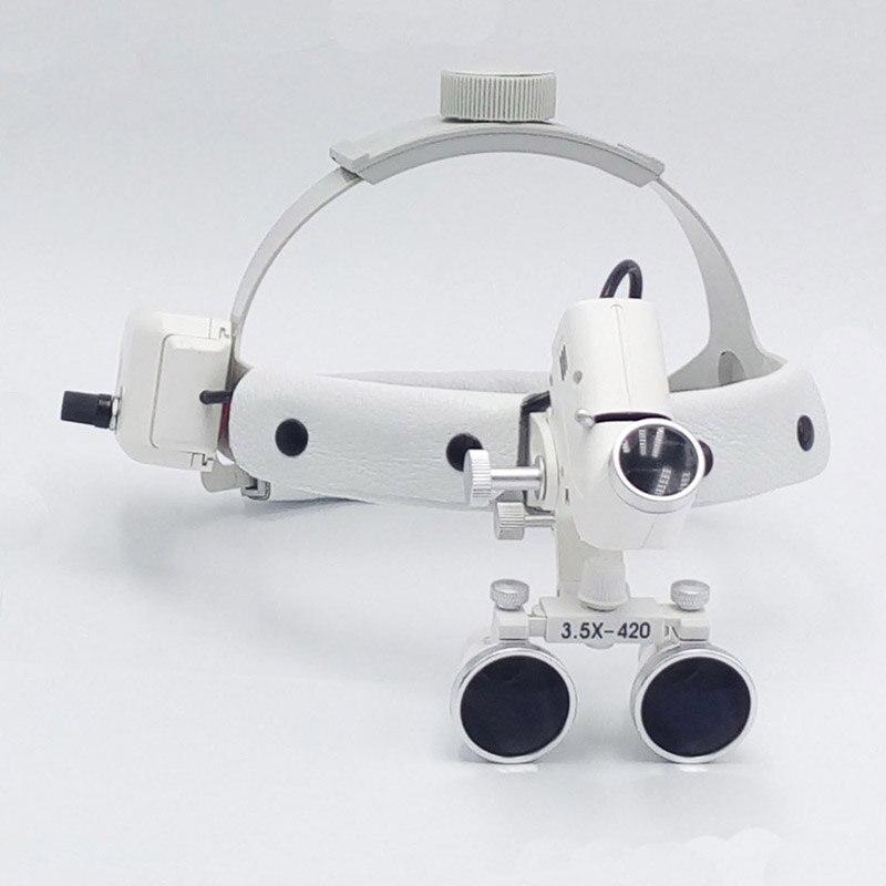 3,5 ampliar alta intensidad de luz led dental lupa cirujano operación médico Ampliador clínica quirúrgica lupa con linterna