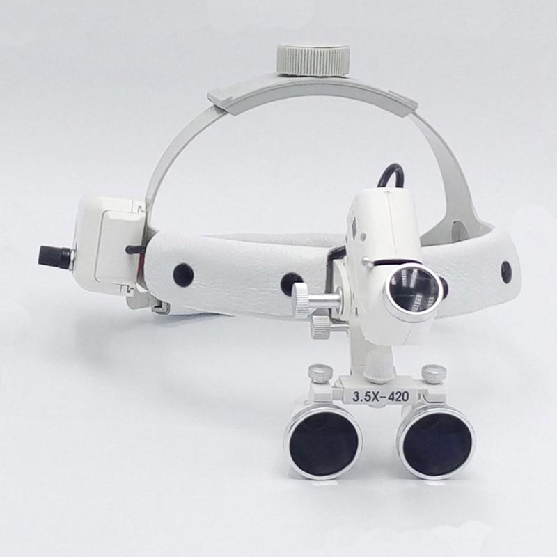 3,5 ampliar led de alta intensidad de luz dental lupa cirujano operación médico ampliadora Clínico Quirúrgico lupa con faro