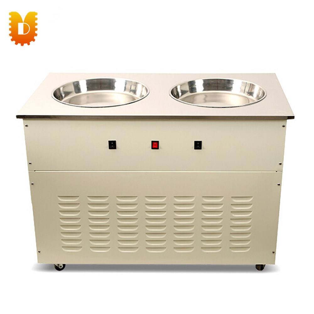 Double pan Fried/Freezing Ice cream Roller Machine chinese single round pan rolled ice cream machine fried ice cream roll machine with 6 barrels