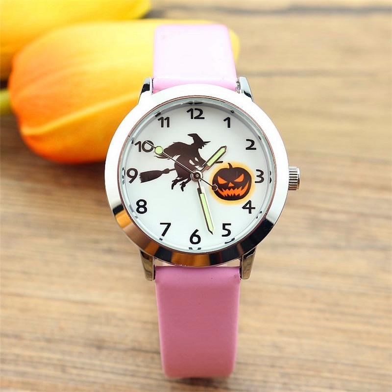 Nazeyt Boys Girls Kids Luminous Hand Quartz Watch Witch Pumpkin Design Children Leather Gift Clock Halloween Lista De Regalos