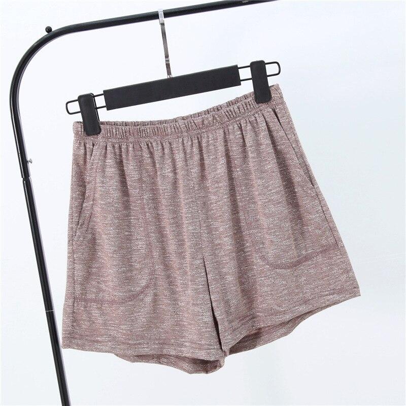Летние женские шорты, тянущиеся, бамбуковые, хлопковые Пижамные штаны, свободная одежда для жизни, одноцветные женские штаны, нижнее белье, одежда для сна, пижама - Цвет: Коричневый