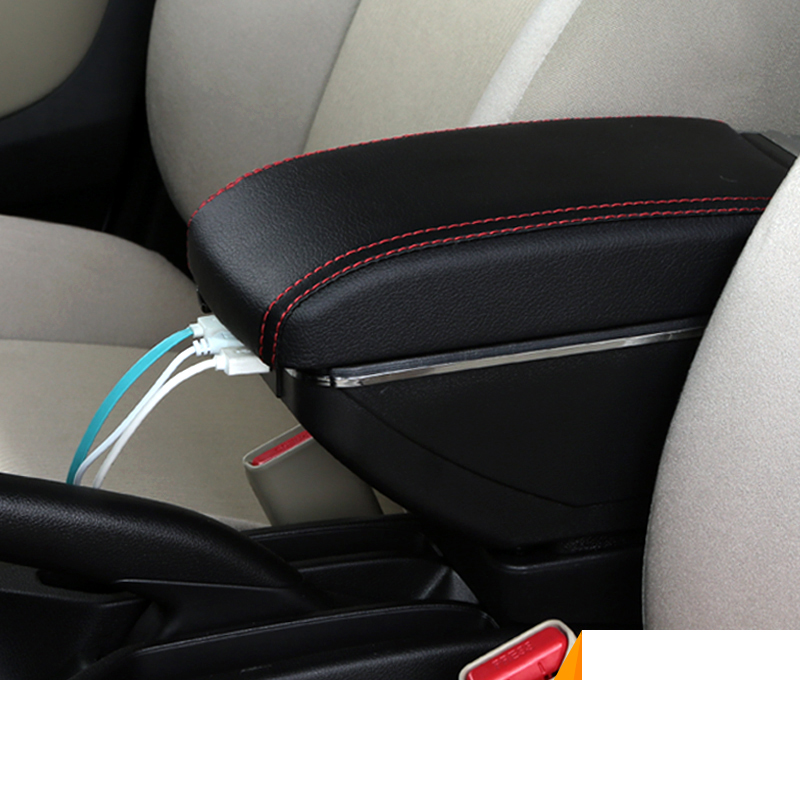 free shipping Car Armrest Central Store Content Storage Box with USB For honda city 2007-2017 2016 2015 2013 2014 2012 2011 2010