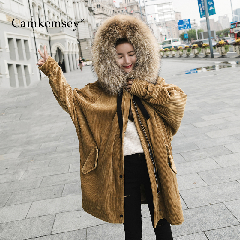CamKemsey Large Fur Collar Winter Coat Women Hooded Long Down Jacket Women Warm Lambswool Padded Parkas Corduroy Cotton Coats 100% white duck down women coat fashion solid hooded fox fur detachable collar winter coats elegant long down coats