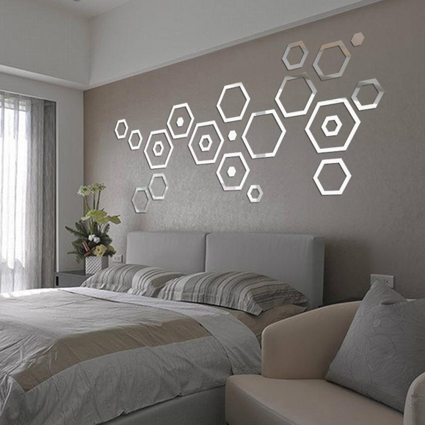 Fashion 24pcs acrylic 3d mirror effect wall stickers home - Stickers decorativos para paredes ...