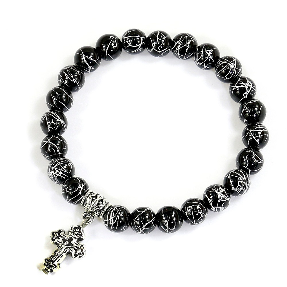 Cross Charm Bracelet: Aliexpress.com : Buy Silver Wire Plating Black Onyx Beads