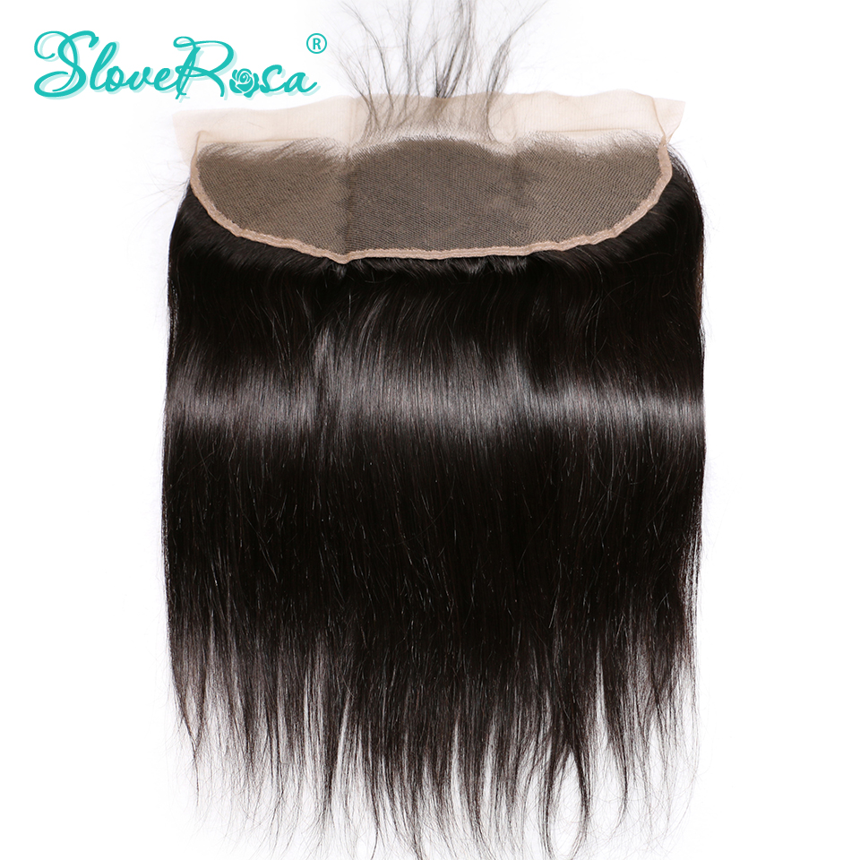 Lace Frontal Closure Straight Brazilian Remy Hair 13x4 Ear To Ear Bleached Knots With Baby Hair Pre Plucked Hairline Slove Rosa