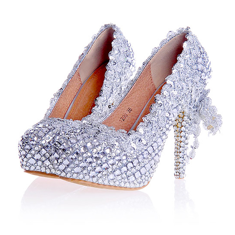 Women Wedding Silver Shoes Crystal Sequins Decor Pumps Lace Slip On Bridal Super High Heel Round Toe Sexy Ladies Party Shoes sequined high heel stilettos wedding bridal pumps shoes womens pointed toe 12cm high heel slip on sequins wedding shoes pumps