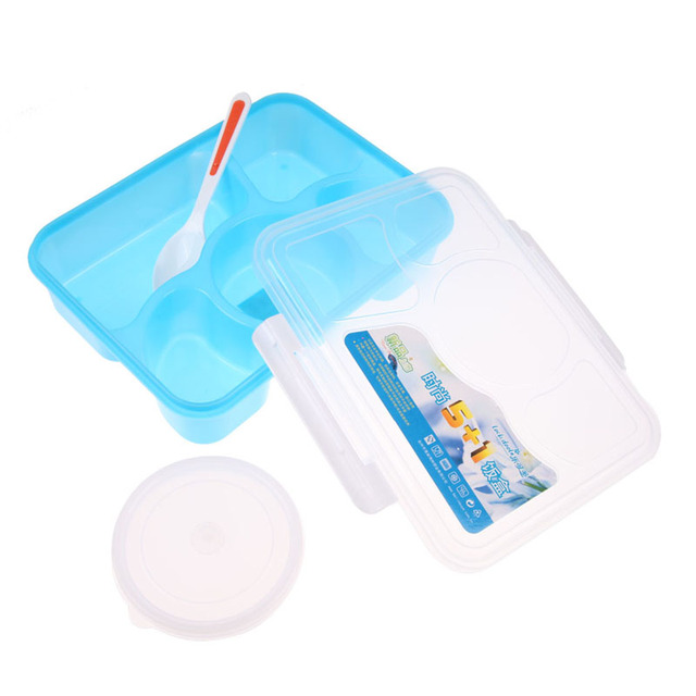1400ML Portable PP Microwave Bento Lunchbox 5 in 1 Food Container Lunchbox Bowl Dinnerware Tableware Tools Kitchen Accessaries