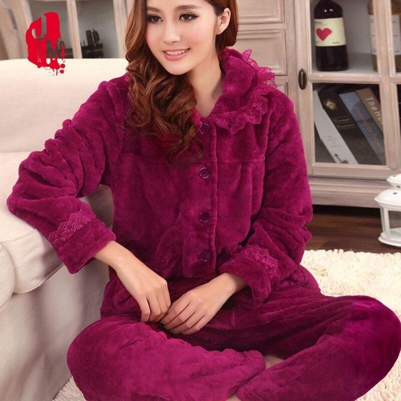 Sleep Autumn Pyjamas Women Winter Coral Velvet Long Sleeve Female   Pajama     Sets   Thick Warm Sexy   Pajamas   XXL Pyjama Femme Homewear