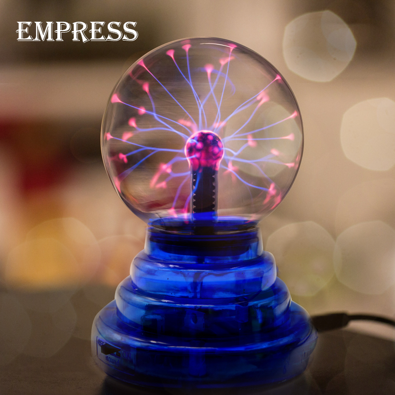 NEW 3 4 5 6 inch Crystal Plasma Ball Magic Lon Sphere Light Electric Lightning ball Novelty Table Lamp Party Decor Box Lightning
