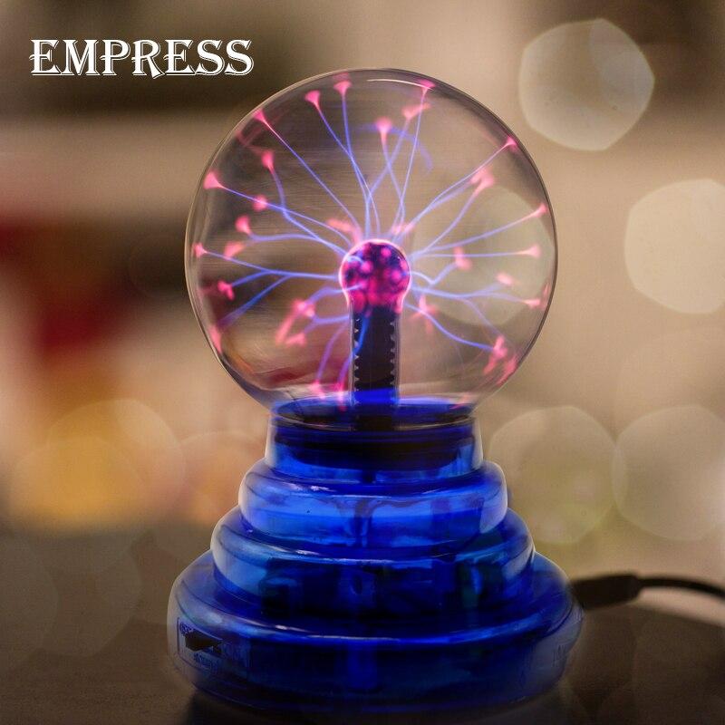 Nueva 3 4 5 6 pulgadas cristal mágica Bola de Plasma Lon esfera rayo eléctrico bola lámpara de mesa novedad partido decoración caja de rayo