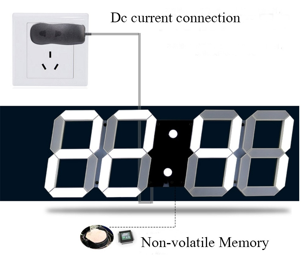 Promotion! Large 3D Led Wall Clock Home Design Show Time Tempareture On The Wall In The Living Room Electronic Clock 2016 HOT (6)