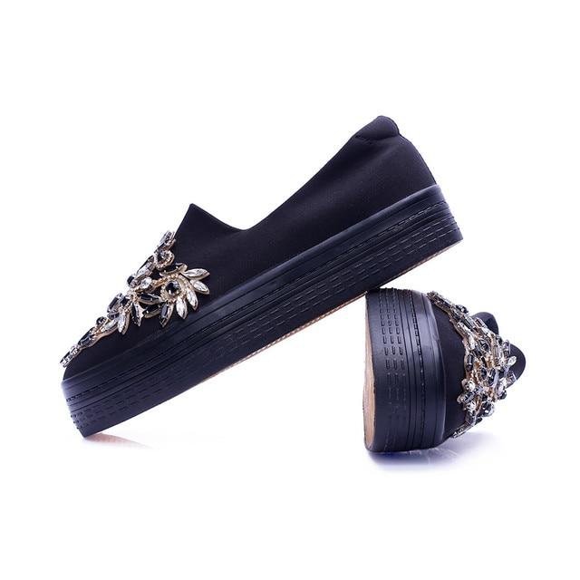 2017 Rhinestone women platform shoes breathable black crystal shoe creeper for lady slipony slip on thick sole luxurious flats