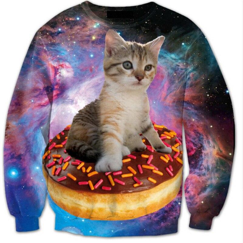 2018 New Mens women Hoodies fashion 3d printed hoodies galaxy Cat hoodies men long sleeve o-neck hoodie men sweatshirt