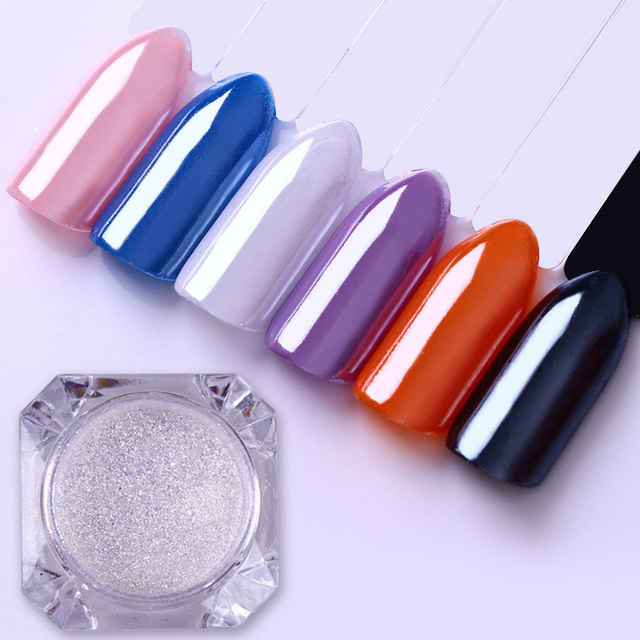 1 Box Diamond Mermaid Pearl Powder Silver Matt or Mirror Dust Shining Nail Glitter Powder Manicure Nail Art Decoration 6 Colors