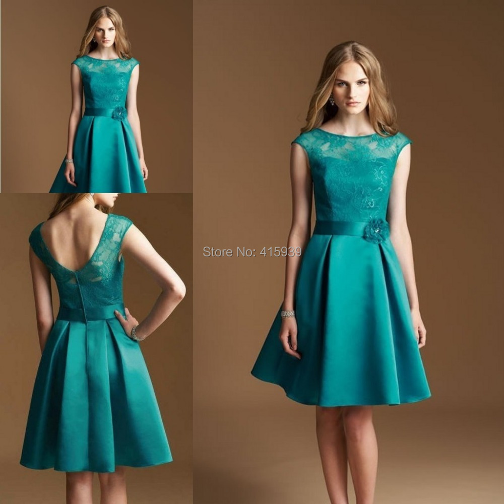 2015 new fashion turquoise knee length short lace backless 2015 new fashion turquoise knee length short lace backless bridesmaid dresses brides maid dresses free shipping bn160 in bridesmaid dresses from weddings ombrellifo Image collections