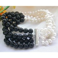 Classical Genuine Pearl Jewelry 4Strands 8 Inches 7 8mm Black A Gate White Freshwater Pearl Bracelet