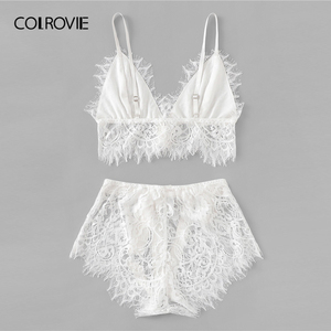Image 2 - COLROVIE White Solid Tie Eyelash Ribbon Christmas Lace Sexy Intimates Women Lingerie Set 2019 Fashion Bralette Underwear Bra Set