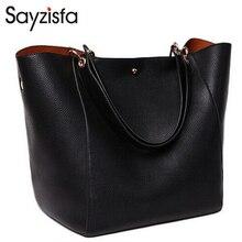 Sayzisfa Genuino Bolso de Cuero de Las Mujeres Bolsos De Lujo bolsas de mensajero Bolsas de Diseñador de la Mujer Tote Ladies Shoulder Bag 2 sets sac T36