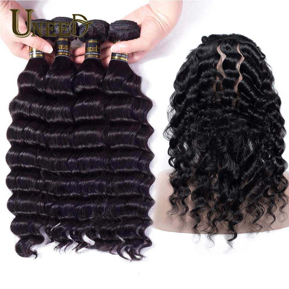 Uneed Hair Malaysian Loose Deep Wave 3 Bundle With 360 Lace Frontal Closure 100% Remy Human Hair Weave Bundles With 360 Frontal