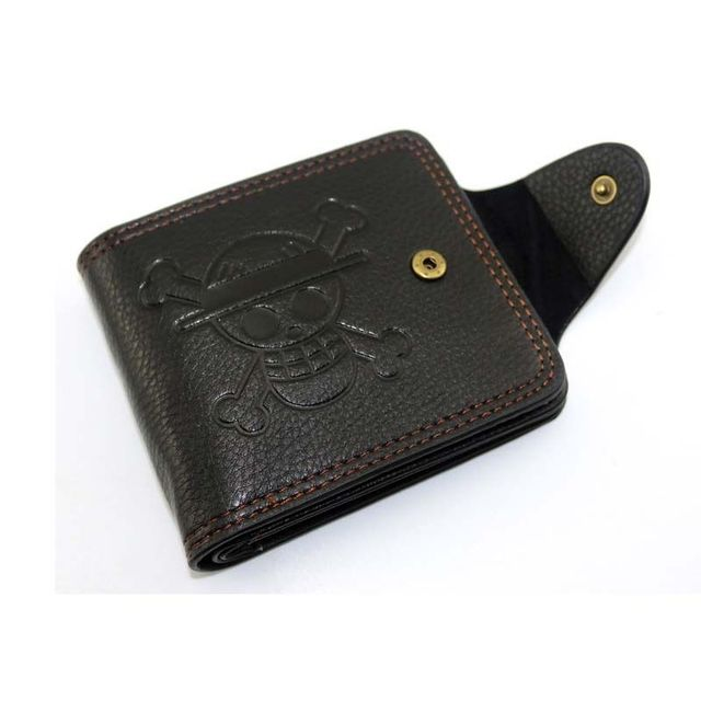 One Piece Luffy Wallet Monkey D Luffy Straw Hat Pirates Anime Skull Wallet Purse Black PU Leather