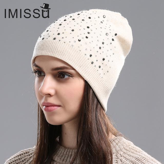 IMISSU Outono Inverno Skullies Beanie Hat Malha de Lã das Mulheres com Cristal Tampão Ocasional Cor Sólida Chapéus de Inverno para As Mulheres