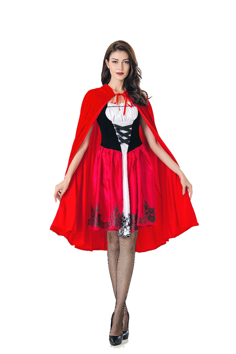 little red riding hood costumes adults for Women Fancy Adult Halloween Cosplay Fantasia Dress+Cloak Cosplay Costume For Party