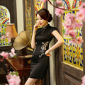 Autumn And Summer Dress New Silk Embroidery Double Lace Hollow Modified Fashion Slim Short Sleeve Cheongsam Lace Mini Dress 3201