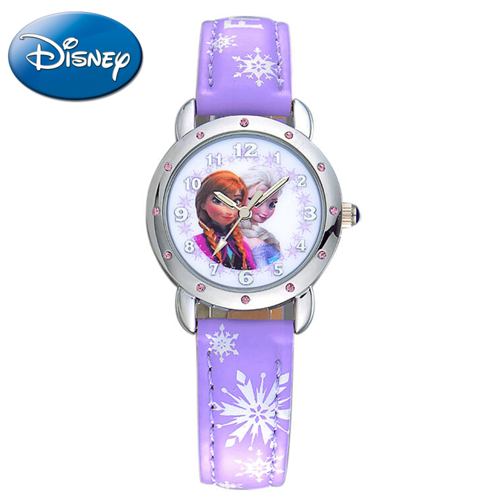 Best children Frozen Elsa Anna princess rhinestone cartoon watch Clever girl fashion casual Kid leather PU watches Disney 54056 disney frozen elsa anna princess best rhinestone watch pretty girls fashion casual quartz watches kid leather 54055 snowflake