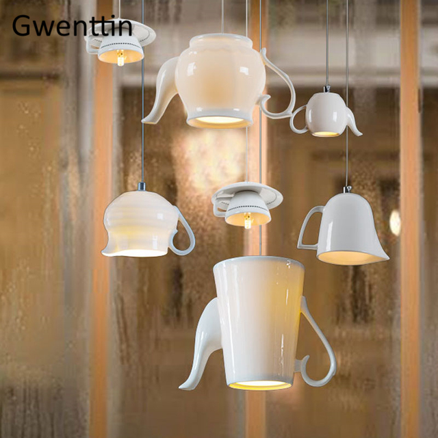 Modern Ceramic Led Pendant Lights Nordic Cup Teapot Hanging Lamp Living Room Kitchen Lighting Fixtures Home Loft Decor Luminaire