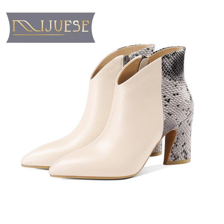 MLJUESE 2019 mulheres tornozelo botas de couro de vaca cores misturadas escorregar no inverno de pelúcia curto tira cobra salto alto mulheres botas tamanho 42