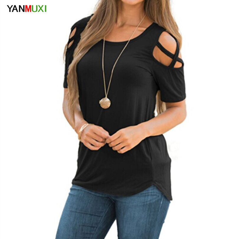 Europe America 2018 Short Sleeve Black Gray T-shirt Sexy Off Shoulder Women Tops Hollow O Neck Summer T Shirt XXL