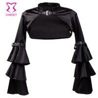 빅토리아 블랙 새틴 프릴 계층 긴 flare 소매 고딕 재킷 여성 코트 짧은 볼레로 착실히 보내다 스팀 펑크 clothing