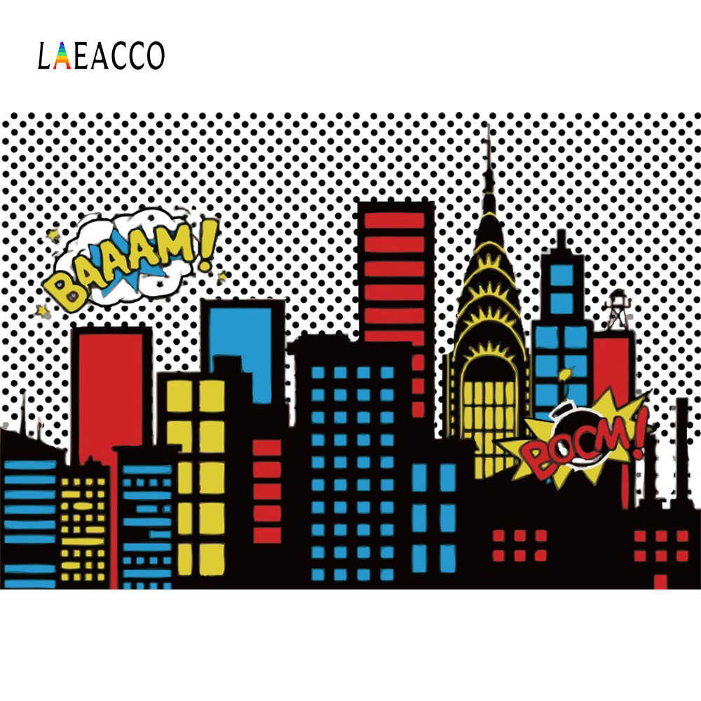 Laeacco Superhero Baby Birhday Party Comics City Buildings Poster Portrait Photo Backgrounds Photography Backdrops Photo Studio