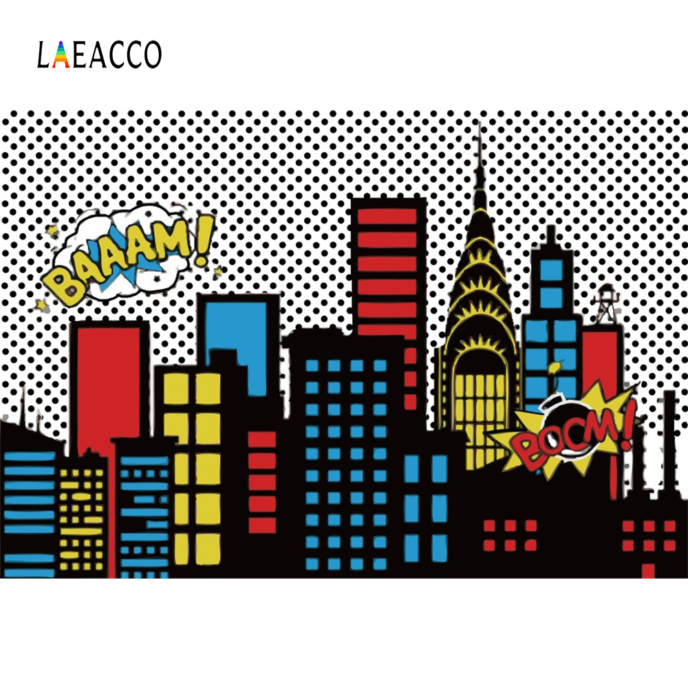 Laeacco Superhero Baby Birhday Party Comics City Buildings Poster Portrait Photo Backgrounds Photography Backdrops Photo Studio