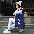 New Arrival 2016 Autumn Winter Women Vest Waistcoat Hooded Warm Long Vest Female Down Cotton Sleeveless Jacket Black/Pink/Gray