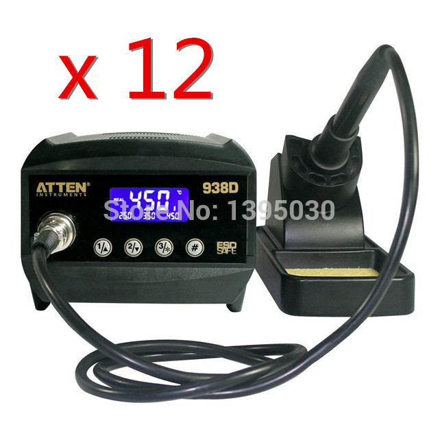 ФОТО ESD Safe 12PCS/Lot Atten AT938D 220V 60W Digital Welding Desoldering Solder Station Solder Iron LCD Display