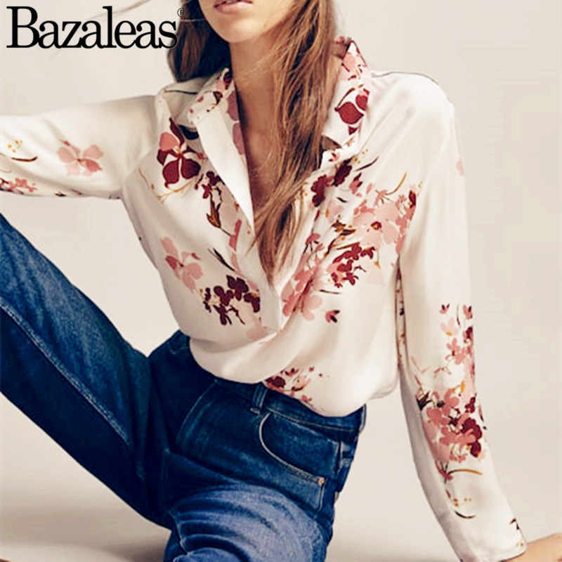 75eee20cb798c8 Bazaleas Vintage White Color Full Sleeve 2019 Womens Spring Tops Blouse  Buttons Turn Down Collar Blusa