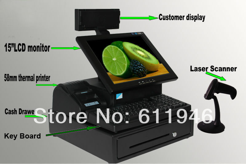1 PC 15 pouces écran tactile tout en un système de position avec imprimante thermique/scanner laser/tiroir-caisse/affichage client/clavier