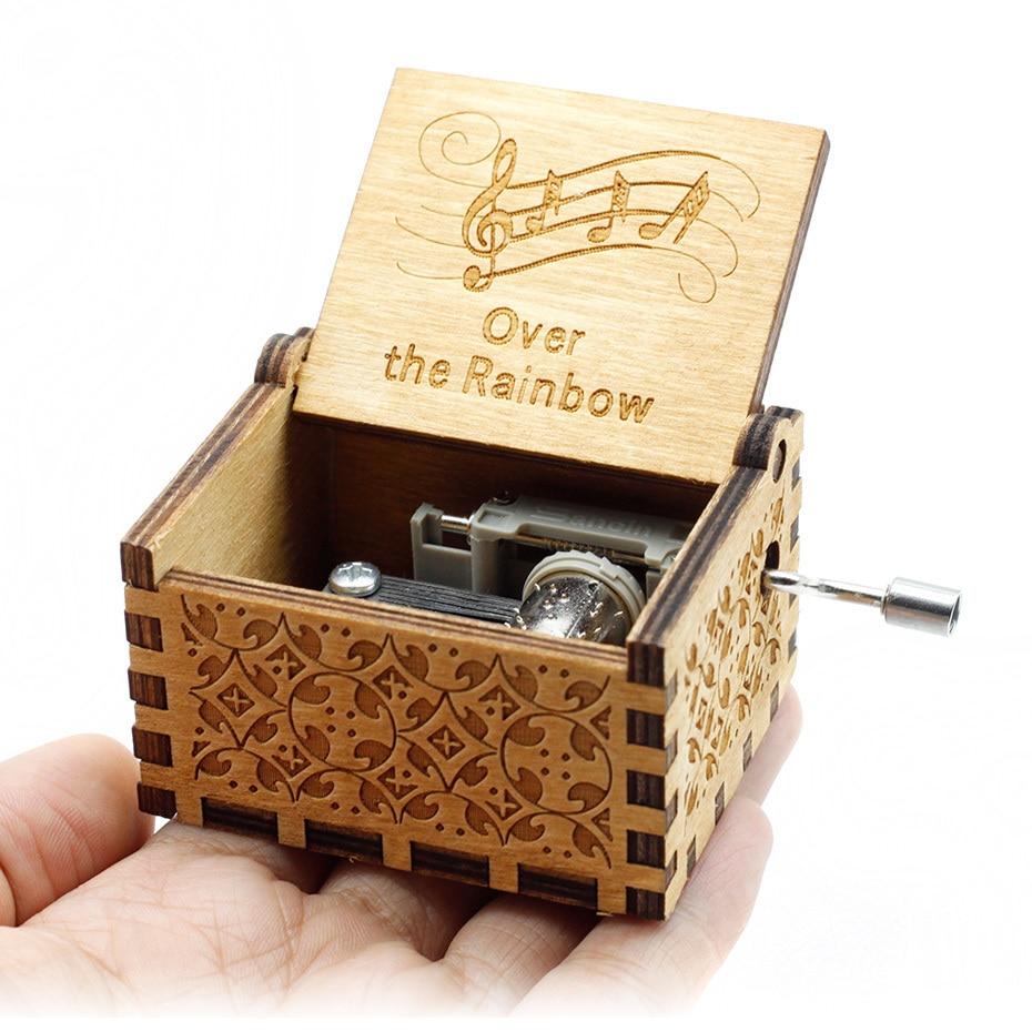 Античный резной ручной коленчатый Деревянный музыкальная шкатулка легенда о Зельде замок в небо пусть Le Go День рождения Рождественский подарок - Цвет: RainBow