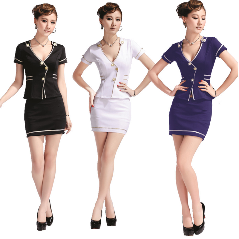 2018 Real Sale Freeshipping Short Womens Business Suits Sauna Uniform Stewardess Uniforms Work Wear Temptation Pediluvium Ktv