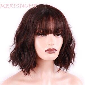 Image 4 - Merisi 머리 합성 머리 갈색 8 색 짧은 물 웨이브 가발 화이트/블랙 여성 내열성 섬유 매일 전체 거짓 머리
