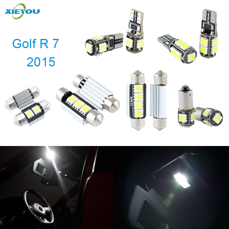 XIEYOU 9pcs LED Canbus Interior Lights Kit Package For Volkswagen VW Golf 7 Golf R (2015+) free shipping 11x vw golf 5 gt 2003 2008 white led lights interior package kit canbus 107