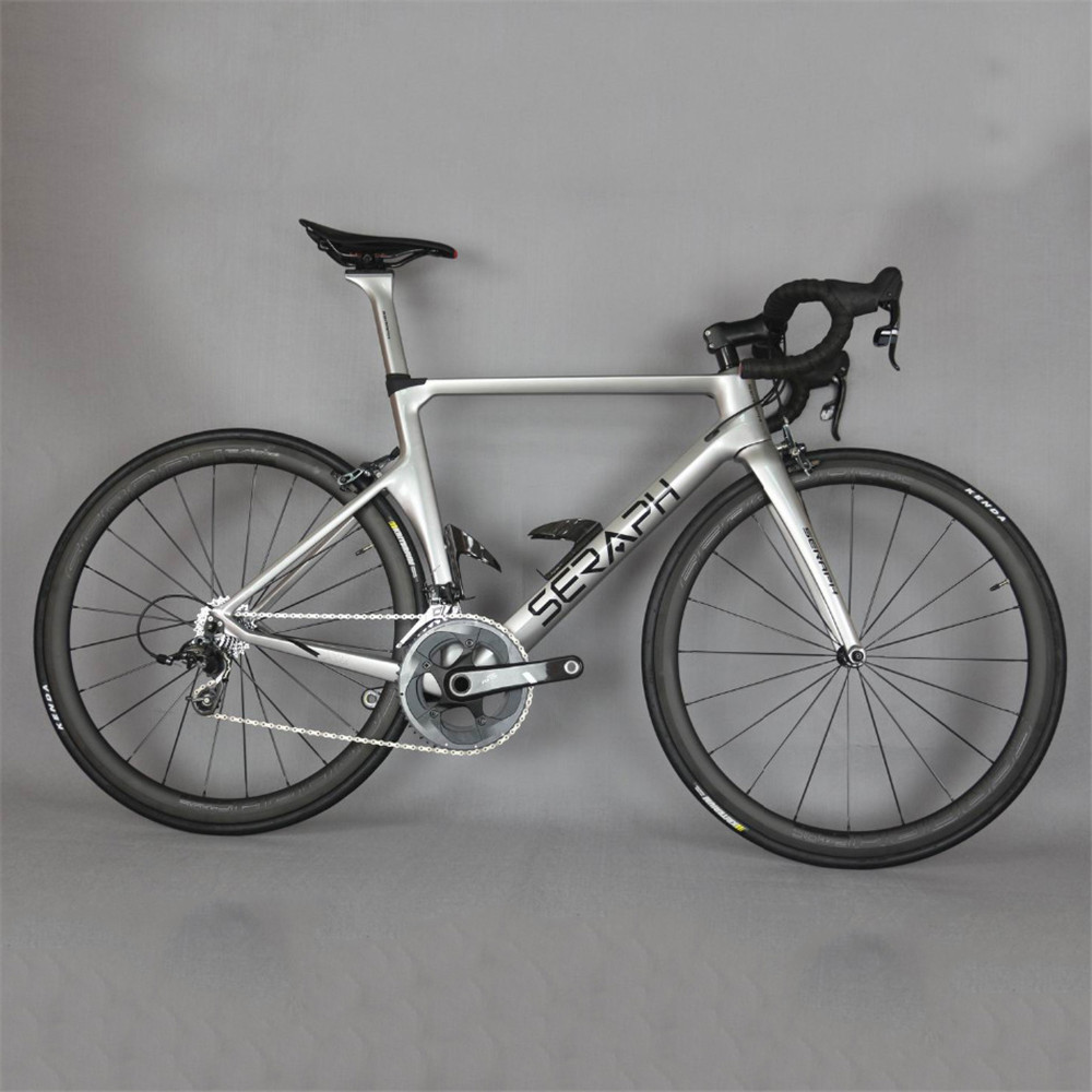 2019 Seraph Silver  Aero Road Carbon Bicycle High Pressure Tire Cushion Sram Groupset 22 Speed 700*25C Complete Road Bike TT-X1