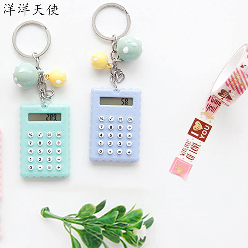Kawaii Keychain BT21 Mini Cute Electric Calculator Key Chains Plush Car Bag Accessories For Keys Ring Girls Jewelry Pendant