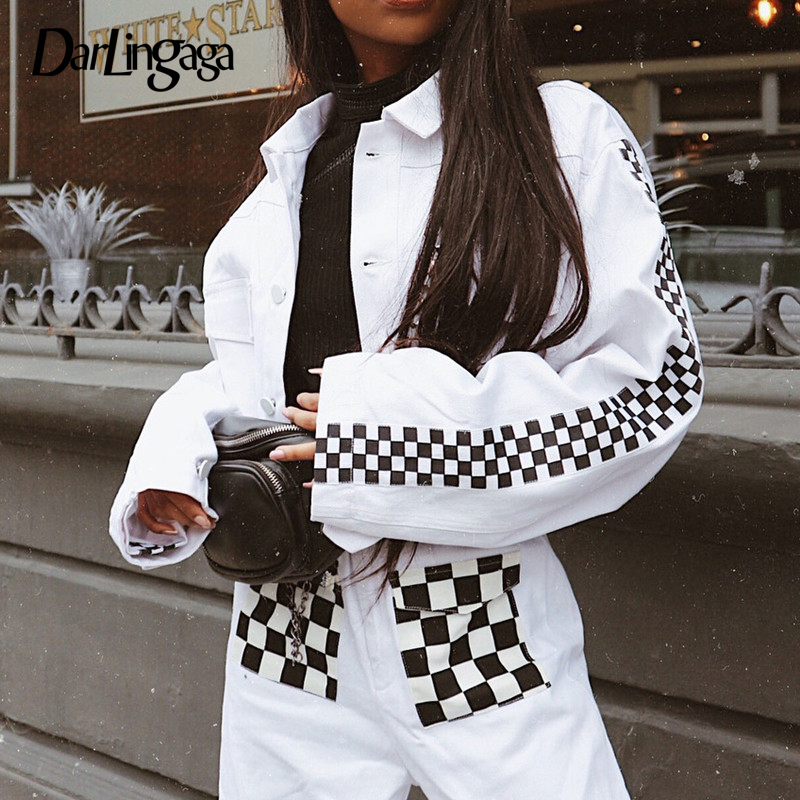 Darlingaga Fashion autumn winter   jacket   women checkerboard print cropped   jacket   coat plaid short   basic     jackets   outwear 2019 new
