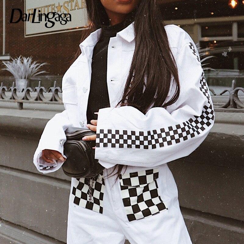 Jacken & Mäntel Weekeep Schachbrett Patchwork Drehen-unten Kragen Jacke Frauen Weiß Mode Street Einreiher Casaco Feminino Jacken