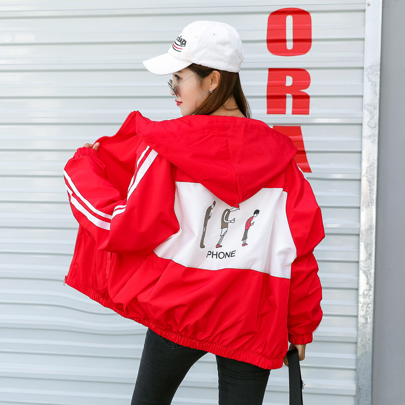 Jackets   Ulzzang Harajuku All-match Womens Striped Zipper Cartoon Printed Loose Korean Style Women Casual   Basic     Jacket   Ulzzang