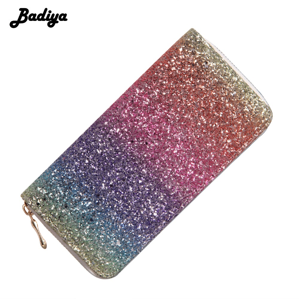 Women's Wallet Long Synthetic Leather Sequins Decoration Purse Ladies Credit Card Holders Zipper Money Pouch Clutches Female